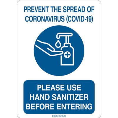 "Brady 170171 - Prevent The Spread Of Coronavirus (Covid- 19) Sign - Polyester - 14"" H x 10"" W - Blue/White"