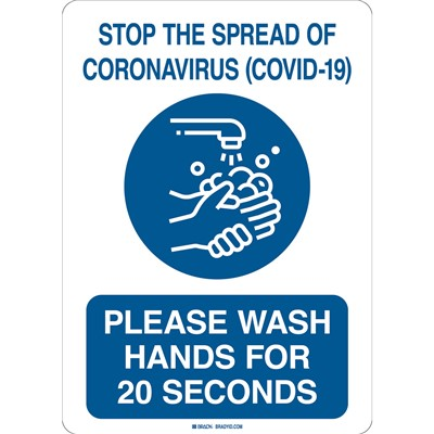 "Brady 170181 - Stop The Spread Of Coronavirus (Covid- 19) Sign - Polystyrene - 14"" H x 10"" W - Blue/White"