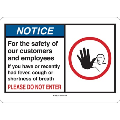 "Brady 170198 - For The Safety Of Our Customers And Employees Sign - Polyester - 7"" H x 10"" W - Blue/White"