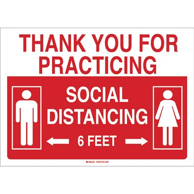 "Brady 170206 - Thank You For Practicing Social Distancing Sign - Aluminum - 10"" H x 14"" W - Red/White"