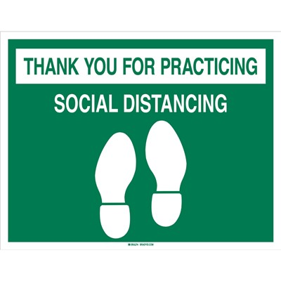"Brady 170214 - Thank You For Practicing Social Distancing Sign - Vinyl - 14"" H x 18"" W - Orange/White"