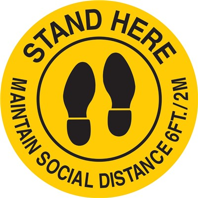 "Brady 170215 - Maintain Social Distance 6Ft./2M Sign - Polyester - 17"" Dia - Black/Yellow"