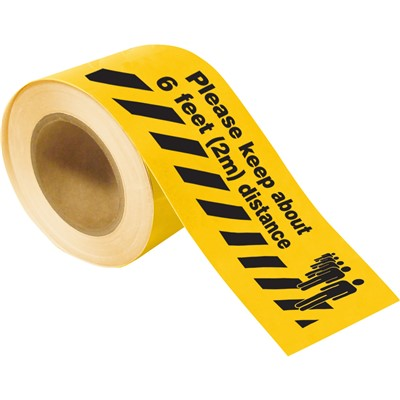 "Brady 170216 - Please Keep About 6 feet (2m) Distance Floor Marking Tape - 4"" W x 100' L - Black/Yellow"