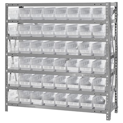 "Quantum Storage Systems 1839-103CL - Economy Series 4"" Clear-View Bin Shelving w/48 Bins - 18"" x 36"" x 39"" - Clear"