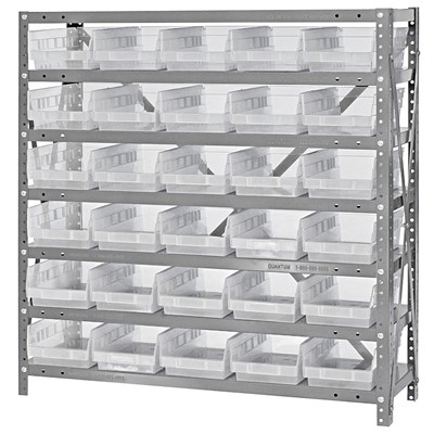 "Quantum Storage Systems 1839-104CL - Economy Series 4"" Clear-View Bin Shelving w/30 Bins - 18"" x 36"" x 39"" - Clear"