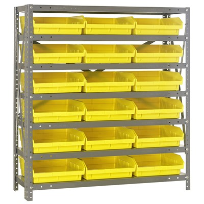 "Quantum Storage Systems 1839-110 YL - Economy Series 4"" Shelf Bin Steel Shelving w/18 Bins - 18"" x 36"" x 39"" - Yellow"
