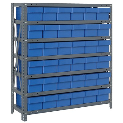 "Quantum Storage Systems 1839-602 BL - Super Tuff Euro Series Open Style Steel Shelving w/36 Bins - 18"" x 36"" x 39"" - Blue"