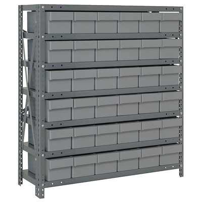 "Quantum Storage Systems 1839-602 GY - Super Tuff Euro Series Open Style Steel Shelving w/36 Bins - 18"" x 36"" x 39"" - Gray"