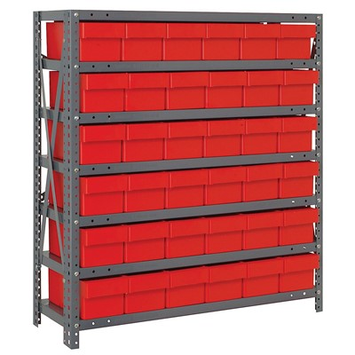 "Quantum Storage Systems 1839-602 RD - Super Tuff Euro Series Open Style Steel Shelving w/36 Bins - 18"" x 36"" x 39"" - Red"