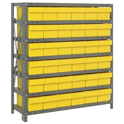 "Quantum Storage Systems 1839-602 YL - Super Tuff Euro Series Open Style Steel Shelving w/36 Bins - 18"" x 36"" x 39"" - Yellow"