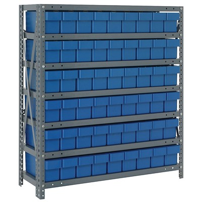 "Quantum Storage Systems 1839-604 BL - Super Tuff Euro Series Open Style Steel Shelving w/54 Bins - 18"" x 36"" x 39"" - Blue"