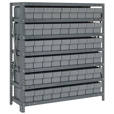 "Quantum Storage Systems 1839-604 GY - Super Tuff Euro Series Open Style Steel Shelving w/54 Bins - 18"" x 36"" x 39"" - Gray"