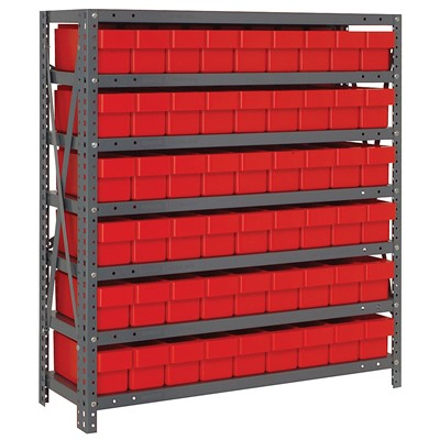 "Quantum Storage Systems 1839-604 RD - Super Tuff Euro Series Open Style Steel Shelving w/54 Bins - 18"" x 36"" x 39"" - Red"