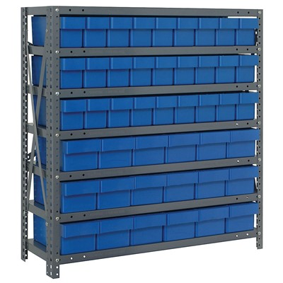 "Quantum Storage Systems 1839-624 BL - Super Tuff Euro Series Open Style Steel Shelving w/45 Bins - 18"" x 36"" x 39"" - Blue"