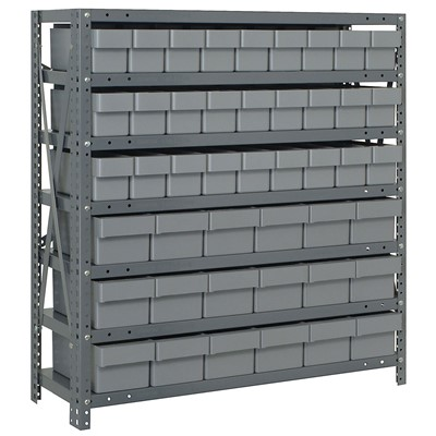 "Quantum Storage Systems 1839-624 GY - Super Tuff Euro Series Open Style Steel Shelving w/45 Bins - 18"" x 36"" x 39"" - Gray"
