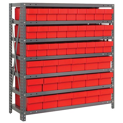 "Quantum Storage Systems 1839-624 RD - Super Tuff Euro Series Open Style Steel Shelving w/45 Bins - 18"" x 36"" x 39"" - Red"