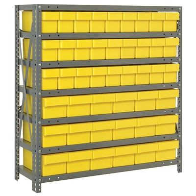 "Quantum Storage Systems 1839-624 YL - Super Tuff Euro Series Open Style Steel Shelving w/45 Bins - 18"" x 36"" x 39"" - Yellow"