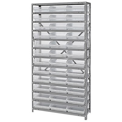 "Quantum Storage Systems 1875-110CL - Economy Series 4"" Clear-View Bin Shelving w/36 Bins - 18"" x 36"" x 75"" - Clear"