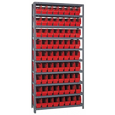 "Quantum Storage Systems 1875-203 RD - Store-More Series 6"" Shelf Bin Steel Shelving w/72 Bins - 18"" x 36"" x 75"" - Red"