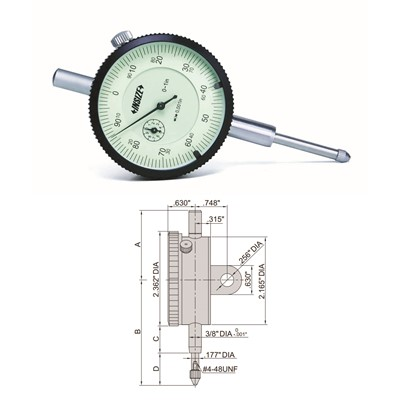 "Insize 2307-105 - Inch Dial Indicator - 1"" Range - 0-50 Dial Reading - 0.0005"" Graduation"