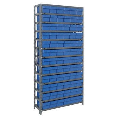 "Quantum Storage Systems 2475-603 BL - Super Tuff Euro Series Open Style Steel Shelving w/72 Bins - 24"" x 36"" x 75"" - Blue"