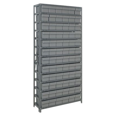 "Quantum Storage Systems 2475-603 GY - Super Tuff Euro Series Open Style Steel Shelving w/72 Bins - 24"" x 36"" x 75"" - Gray"