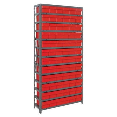 "Quantum Storage Systems 2475-603 RD - Super Tuff Euro Series Open Style Steel Shelving w/72 Bins - 24"" x 36"" x 75"" - Red"
