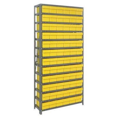 "Quantum Storage Systems 2475-603 YL - Super Tuff Euro Series Open Style Steel Shelving w/72 Bins - 24"" x 36"" x 75"" - Yellow"
