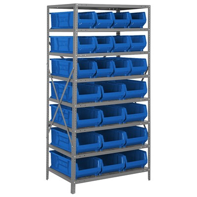 "Quantum Storage Systems 2475-950952 BL - Hulk Series Container Shelving w/24 Bins - 24"" x 36"" x 75"" - Blue"