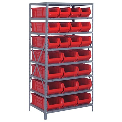 "Quantum Storage Systems 2475-950952 RD - Hulk Series Container Shelving w/24 Bins - 24"" x 36"" x 75"" - Red"