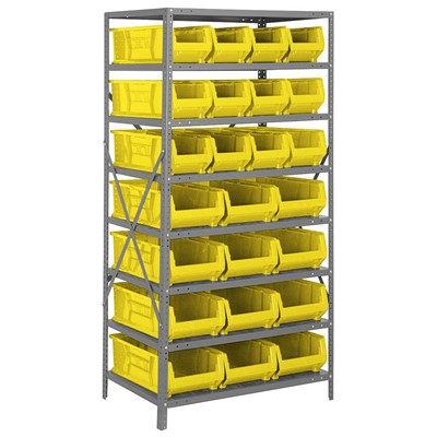 "Quantum Storage Systems 2475-950952 YL - Hulk Series Container Shelving w/24 Bins - 24"" x 36"" x 75"" - Yellow"