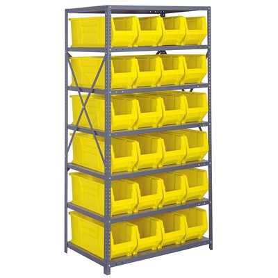 "Quantum Storage Systems 2475-951 YL - Hulk Series Container Shelving w/24 Bins - 24"" x 36"" x 75"" - Yellow"