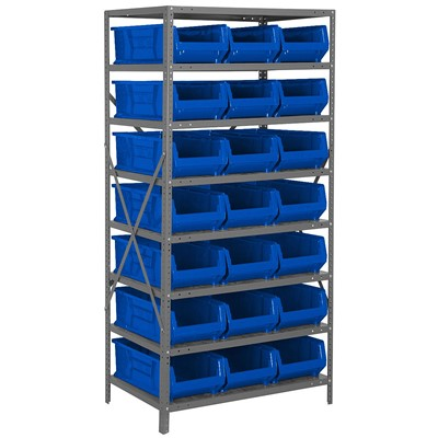 "Quantum Storage Systems 2475-952 BL - Hulk Series Container Shelving w/21 Bins - 24"" x 36"" x 75"" - Blue"
