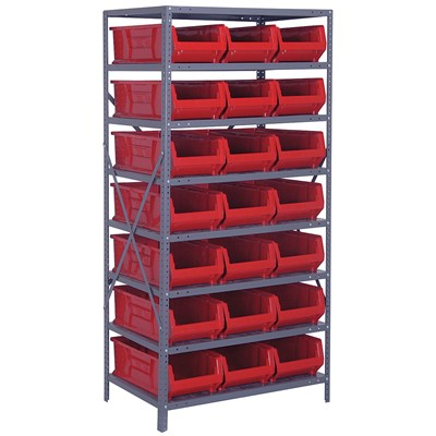 "Quantum Storage Systems 2475-952 RD - Hulk Series Container Shelving w/21 Bins - 24"" x 36"" x 75"" - Red"