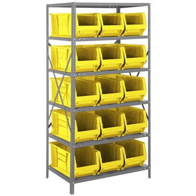 "Quantum Storage Systems 2475-953 YL - Hulk Series Container Shelving w/15 Bins - 24"" x 36"" x 75"" - Yellow"