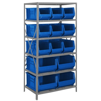 "Quantum Storage Systems 2475-953954 BL - Hulk Series Container Shelving w/13 Bins - 24"" x 36"" x 75"" - Blue"