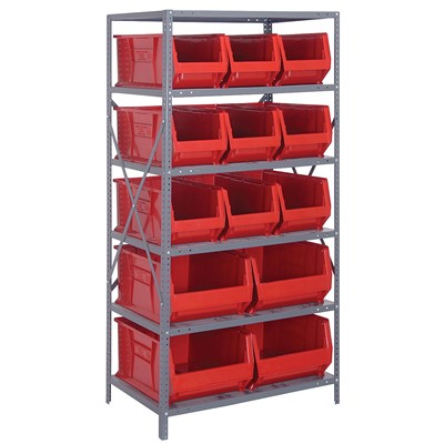 "Quantum Storage Systems 2475-953954 RD - Hulk Series Container Shelving w/13 Bins - 24"" x 36"" x 75"" - Red"