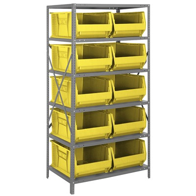 "Quantum Storage Systems 2475-954 YL - Hulk Series Container Shelving w/10 Bins - 24"" x 36"" x 75"" - Yellow"