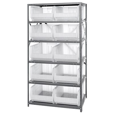 "Quantum Storage Systems 2475-954CL - Hulk Series Clear-View Container Shelving w/10 Bins - 24"" x 36"" x 75"" - Clear"