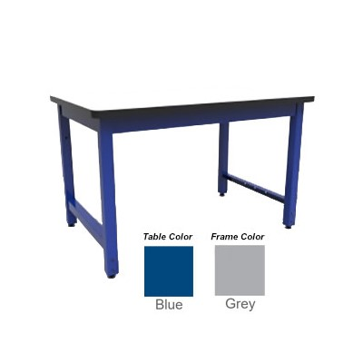 "Production Basic 3011 - RTW Table Workbench - 72"" W x 36"" D - Blue Frame - Gray Surface"