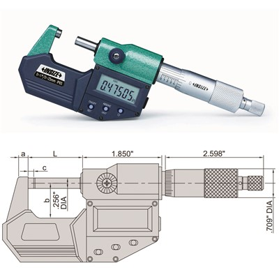"Insize 3101-300E - Electronic Outside Micrometer - 11-12""/275-300mm Range"