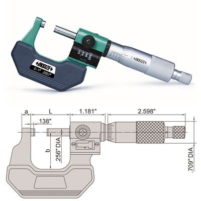 "Insize 3400-1 - Outside Micrometer w/Counter - 0-1"" Range"