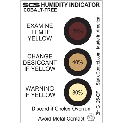 SCS 3HIC125-CF - Humidity Indicator Card - Cobalt-Free - 30-40-50% - 125/Can