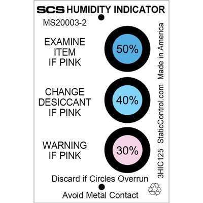 "SCS 3HIC125 - 3-Spot Humidity Indicator Card - 30-40-50% - 2"" x 3"" - 125/Can"