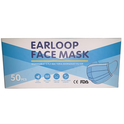 Q Source 3PLYFACEMASK - 3-Ply Disposable Face Mask - Blue - ASTM1 - 50/Box