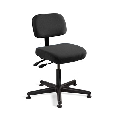 "Bevco 5001-F-BK - Doral 5000 Series Upholstered Chair w/Seat & Back Tilt - Fabric - 17""-22"" - Mushroom Glides - Black"