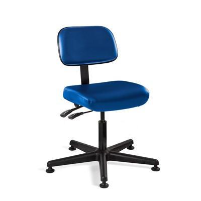 "Bevco 5001-V-BL - Doral 5000 Series Upholstered Chair w/Seat & Back Tilt - Vinyl - 17""-22"" - Mushroom Glides - Blue"