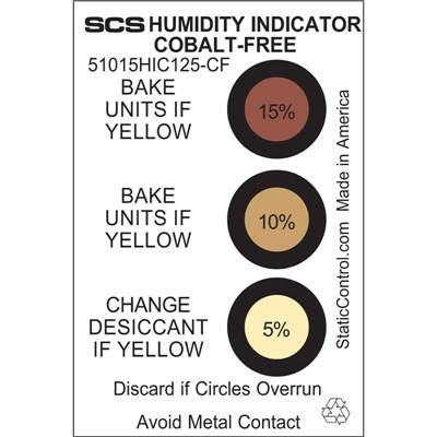 SCS 51015HIC125-CF - Humidity Indicator Card - Cobalt-Free - 5-10-15% - 125/Can