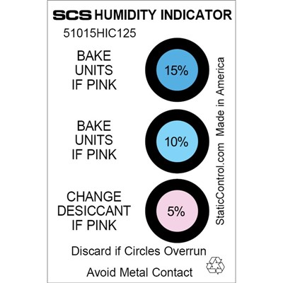 "SCS 51015HIC125 - 3-Spot Humidity Indicator Card - 5-10-15% - 2"" x 3"" - 125/Can"