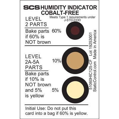 SCS 51060HIC125-CF - Humidity Indicator Card - Cobalt-Free - 5-10-60% - 125/Can